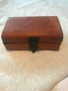 Vintage wood box hinged leather  cover  jewelry  5 inch trinket storage