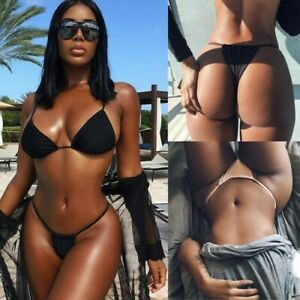 Sexy Damen Bikini Set Bademode Push Up BH G-String Tanga Badeanzug Schwimmanzug
