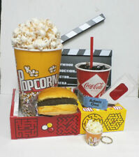 FAKE FOOD THEATER PROPS DRIVE IN MOVE SNAKS W/BURGER+FREE GIFT POPCORN KEY CHAIN