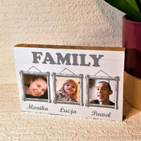 """Personalised Wooden Block Family Photo All Occasions 6x4"""" Gift Birthday Xmas"""