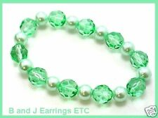 Spring Color-10mm Glass Beads+8mm Faux Pearl Bracelet G