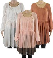 Next Chiffon Tunic Dress Pleated Front & Keyhole Top Cream Rust Brown Peach Pink