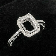 Emerald Cut 8x6MM Natural Diamond Accents Semi Mount Ring Solid 14K White Gold