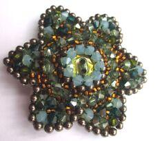 broche ancienne bijou vintage création perles de cristal couleur étoilé 2236