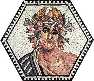 Greek God Hexagon Shape Framed Home Decor Marble Mosaic FG427