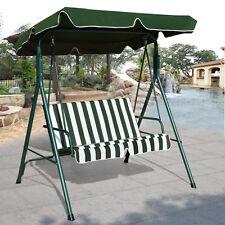 Loveseat Patio Canopy Swing Glider Hammock Cushioned Steel Frame Outdoor Green