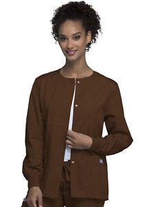 Cherokee Workwear Women Originals Snap Front Warm-Up Jacket 4350 CHCW Chocolate