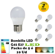 G45-Bombilla LED E27 3W 4W 5W  7W Packs de 5/10 Unidades 260LM-520LM Translucido