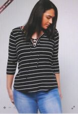 rue21 With Tags Black & White Striped Lace up Top Plus Size 4-4x