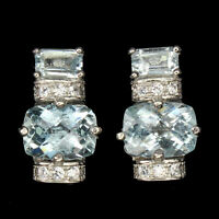 Unheated Antique Aquamarine 8x6mm Cz 925 Sterling Silver Earrings