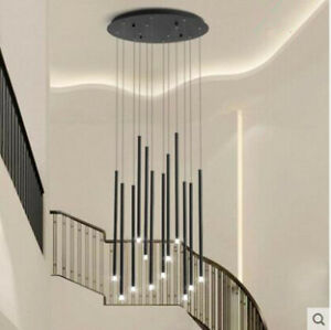 8/12/30/49 heads modern compound spiral staircase chandelier strip LED lighting