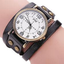 Women's Leather Bracelet Watch Stainless Steel Analog Quartz Dress Wrist Watches