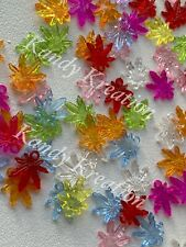 25 Rainbow Mix Marijuana Leaf Pendants Hemp Cannabis Beads Pot Charms For Kandi