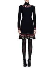 Alexander McQueen Long-Sleeve Geometric-Print Dress, Orig  $2045 Size SMALL