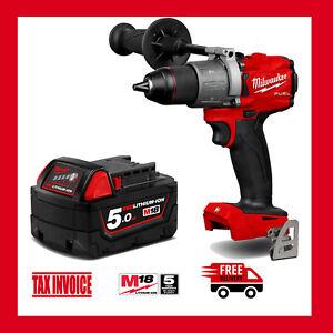Milwaukee M18FPD2-0 18V GEN 3 Fuel Hammer Drill + Milwaukee M18B5 Battery - M18