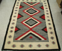 "Navajo Rug with Serrated Diamond Motifs 71 1/2"" x 45 3/4"" c.1940s"