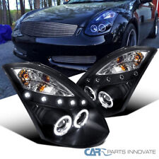 For Infiniti 03-07 G35 2Dr Coupe Black LED Halo Projector Headlights Head Lamps