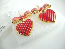 Coach Poppy Heart Bow Stripe Gold/Fuchsia Dangle Hook Earrings NWT