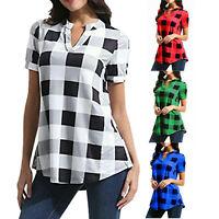 Frauen Damen Bedruckt Kurzarm V-Ausschnitt Loses Hemd Baggy T-Shirt Pullover