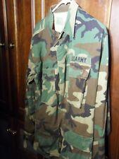 US Military Men's Combat Jacket Shirt Woodland Camo BDU MEDIUM LONG