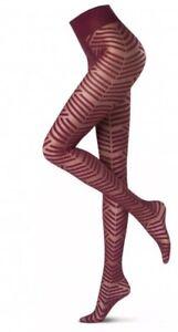 Oroblu Sheer Tights Graphic Maze Opaque Geometric Size Small Red Wine Denier 20