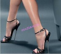 Womens Men Open Toe 18CM Metal High Heel Shoes Ankle Strap Sandals Sexy 36-46