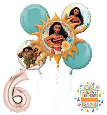 Moana 6th Birthday party Supplies and Princess Balloon Bouquet Decorations