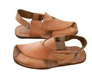 Men Sandals Shoes  Handmade Leather Flip-Flops Indian Jutti Camel Flat US 8