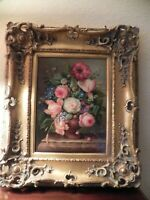 "Large Ornate Gold Picture Frame Floral Painting 26"" X 22"" for 16"" X 20"" OpeningA"