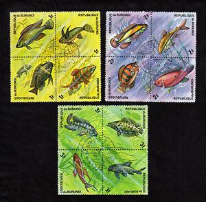 BURUNDI   1974 FISH SCOTT# 449-451