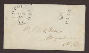 Confederate: Lincolnton, NC CSA Stampless Cover, 5 PAID to Morganton