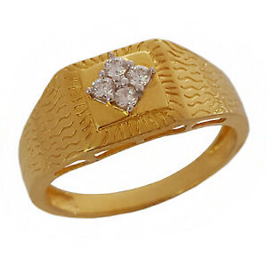 18 Kt Real Solid Yellow Gold Men's Ring Engagement Wedding Size 7 8 9 10 11 12