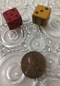 SET OF TWO DICE DIE GAME PIECES VINTAGE -CARVED WOOD ( RED & YELLOW)