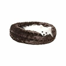 """Plush Calming Dog Bed, Anti-Anxiety Donut Cuddler Round Bed Small-23"""" Brown"""