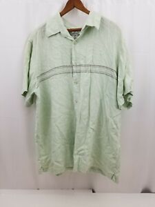 Ron Chereskin Mens Shirt Short Sleeve, Hawaiian, XL XLarge, Casual, Light Green