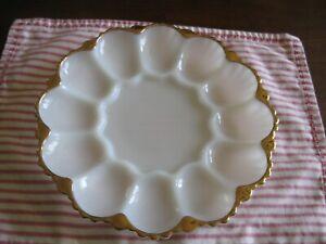 Anchor Hocking Gold Trimmed Serving Plate Vintage Milk Glass Vintage Plate GrapevineDesign WeddingShower Decor Kitchen Farmhouse Decor SALE