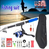 USA 2.1m Fishing Rod Reels Line Combos Full Kits Spinning Reel Pole Carrier Bag