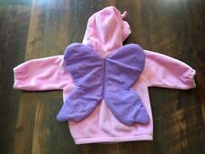 Size 12m pink/purple HOODED ZIP UP BUTTERFLY LINED jacket by SONOMA