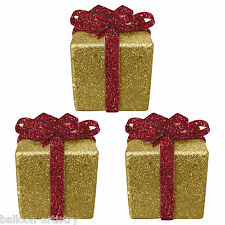 3 Christmas GOLD Glitter Gift Box Present 6cm Table Tree Decorations