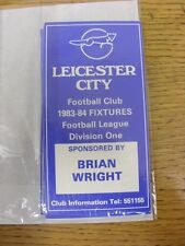 1983/1984 Fixture List: Leicester City - Official Four Page Card . Thanks for vi