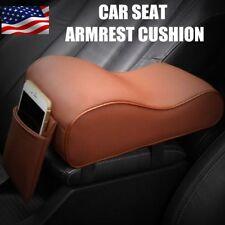 Brown Premium Car Center Console Armrest Cushion PU Leather & Memory Foam US