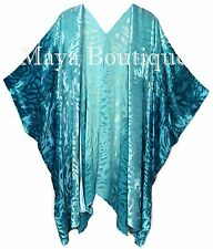 Teal Ombre Camellia Burnout Velvet Caftan Kimono Hand Dye Maya Matazaro