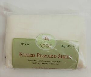 """TL CARE Fitted Playard Sheet NWT 27"""" x 39"""" Knit Organic Cotton Cream"""