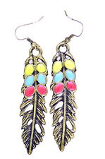 Stunning boho style bronze leaf dangle earrings