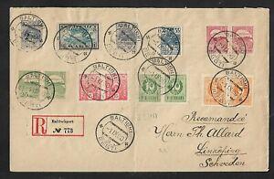 ESTONIA BALTISCHPORT  BALTISKI TO SWEDEN MULTIFRANKED COVER 1920