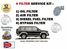 FOR ISUZU TROOPER 3.0 DTi 1998-2006 OIL AIR FUEL BYPASS 4 FILTER SERVICE KIT