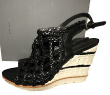 $450 AQUATALIA QUEEN Wedge Espadrilles Sandals Black Braided Slingback Shoes 7.5