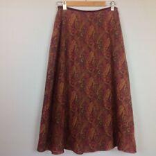 Ralph Lauren Maxi Skirt Womens 10P Petite Wool Blend Paisley Boho