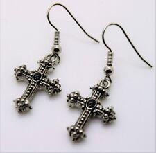 A159 -J Gorgeous Cross Design Rhodium plated Dangle Fish Hook Fashion Earring