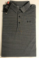 Under Armour S/S Playoff Polo Striped Golf Shirt Stretch Gray NEW Men's XL $65